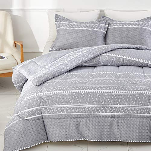 Joyreap 3pcs Comforter Set, Triangle Stripes on Gray Design, Ultra Soft Microfiber Comforter for All Season (Full/Queen, 90x90 inches)