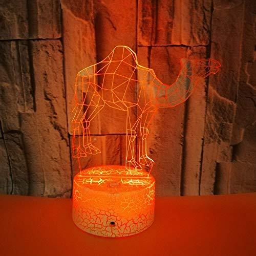 Camello La novedad de la lámpara de escritorio de acrílico 7Colors 3D llevó la luz de la noche
