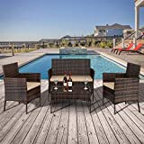 Rattan Garden Furniture Sets 4 Piece Wicker Rattan Garden Chair Table, Faux Rattan Bistro Set of 2 Armchairs with 2 Cushions + 1 Double Chair with Cushion + 1 Table with Tempered Glass