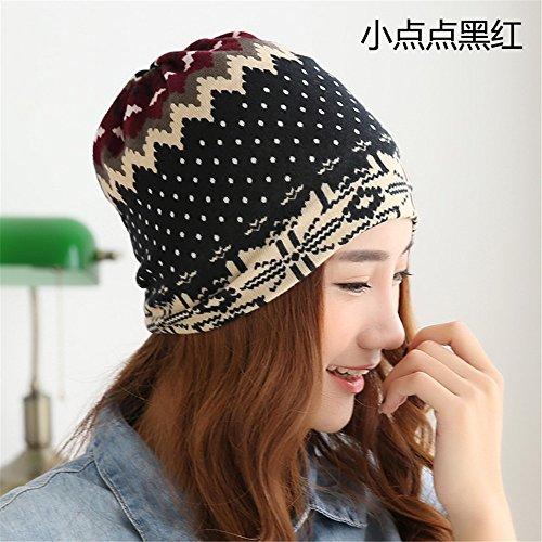 Vrouwen set kinderen hoofd cap dunne breien cap paal cap van Baotou winter maand cap cap cap letter mannelijke recreatieve dames [56cm] elastische kop, 56cm hoofd],Zwart en rode stippen.