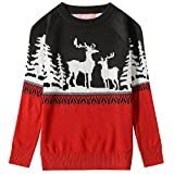 Camii Mia Big Girls' Reindeer Pullover Crewneck Ugly Christmas Sweater (Small, Red Black)