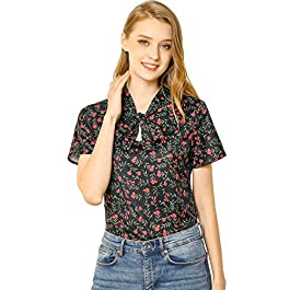 Allegra K Women's Cherry Print Blouse Short Sleeve Tie Neck Tops