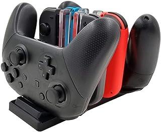Nintendo Switch Proコントロ-ラ-充電スタンドス ジョイコンJoy-Con 6in1 ニンテンドー スイッチ 充電ホルダー 充電グリップ 充電指示LED付き USBケーブル付き 色切替えり6台同時充電可能