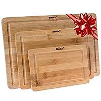 Taglieri da Cucina In Legno Di Bamboo – Set di 3 Taglieri per Cucina In Legno (Piccolo, Medio, Grande)– Tagliere da Cucina In Legno di Bambù con Scanalatura per Liquidi e Maniglie – Vassoio da Portata