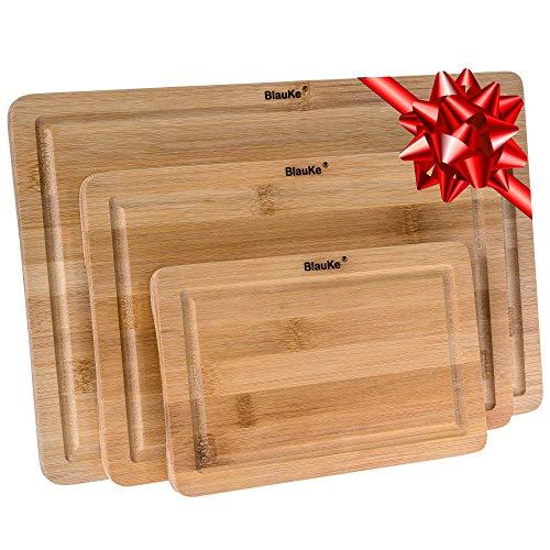 Planche à Découper en Bambou 3 Tailles (S, M, L) – Ensemble de Planches à Découper en Bois de Bamboo – Planches à Découper pour Cuisine avec Rainure de Jus et Poignées – Plateau de Service en Bambou