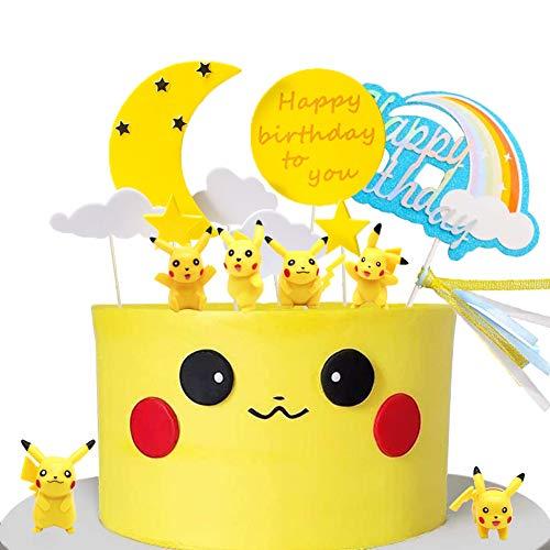 JAHEMU Tortendeko Cake Topper Geburtstag Kuchendekoration Happy Birthday Cupcake Topper Regenbogen Tortendekoration für Kinder Geburtstag Baby Shower, 14 Stück