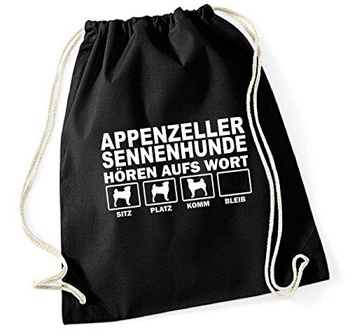 Siviwonder Turnbeutel - APPENZELLER SENNENHUND Sennenhunde Schweiz Sennen - HÖREN AUFS WORT Baumwoll Tasche Beutel schwarz
