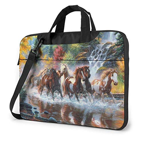 Eight Horses Running Horse Laptop Sleeve Case 15.6 Inch Computer Tote Bag Shoulder Messenger Briefcase for Business Travel
