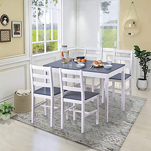 Pine Wood Dining Table and Chairs Set of 4 Solid Wooden Kitchen Furniture, Home Furniture Set Dining Room Furniture Set, Grey
