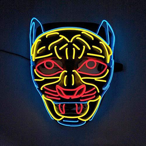 WNMASS Halloween Grusel Leuchtende Maske, Tier Leopard Cosplay Carnival Party Performance Maske, Scary Glowing Creepy Luminous Maske