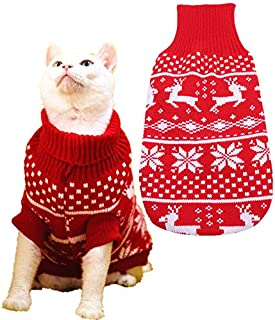 Reindeer Dog Turtleneck Sweater,Puppy Christmas Sweaters for Small Dogs Cat
