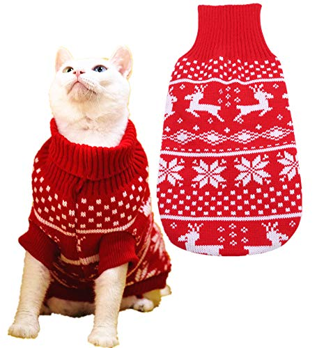 BoomBone Reindeer Dog Turtleneck Sweater,Puppy Christmas Sweaters for Small Dogs Cat