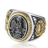 Beydodo 925 Sterling Silber Ring Männer Buddhismus Guanyin Lotusblume Drachen Silber Partnerring Punk Ringe Herren Große 66 (21.0)