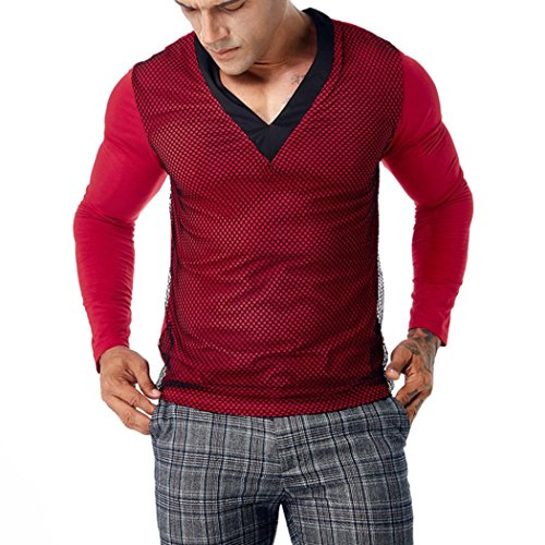 Wintialy Men's Casual Patchwork Mesh Long Sleeve T Shirt Pollover Top Blouse Red