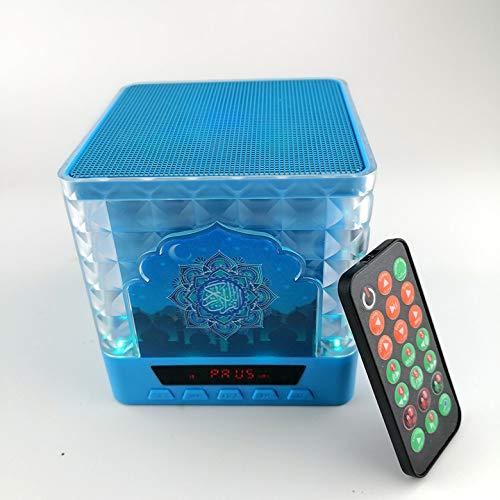 mekkafrance® Quranic HD Lautsprecher KAABA Mekka Blau -Lampe- Muslimisches Geschenk zum Lesen oder Lernen von Koran Hadith Tafseer Qualität -Radio Verwendet Eid Muslim Deutsche Übersetzung