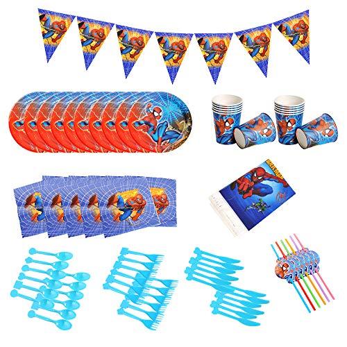 smileh Decoración de Cumpleaños Spiderman Vajilla para Fiestas Incluye Platos Tazas Manteles...