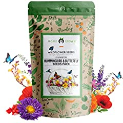 Wildflower Seeds - Premium Birds & Butterflies Seed Collection [3 Oz] 130,000+ Flower Garden Seeds - Wild Flowers Bulk Seeds: 23 Varieties of 100% Non-GMO Annual Flower Seeds for Planting