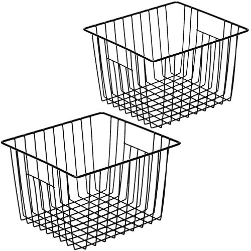 SANNO ワイヤーバスケット 冷蔵庫収納ケース キッチン収納ボックス かご 小物入れ 取っ手付き ブラック 2個セット