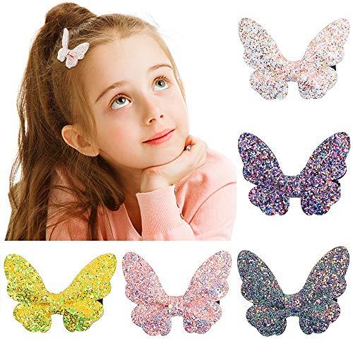 VCOSTORE 5 Stk Schmetterling Glitter Haarspangen, Bowknot Haarnadeln Bling Sparkly Haarschleifen Bögen Alligator Haarspange für Mädchen Teens Frauen