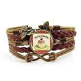 Bracelet tissé, corde brune délicieuse nourriture de gâteau, bracelet de pierres précieuses du temps multi-couche de combinaison de verre tissé à la main bijoux dames mode bijoux de style europée