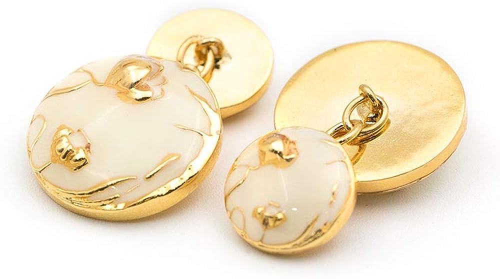 Rosec Jewels Personalized Hand Painted Bloom Cufflinks, Double Sided Enamel Art Deco Chain Cufflinks, Swank Groom Wedding Cufflinks, Classy Fathers Brass Cufflinks