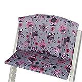 Babys-Dreams Sitzkissen Auflage Sitzkissenset für Stokke Tripp Trapp Hochstuhl (Grau Pink/Rosa Eulen$12)