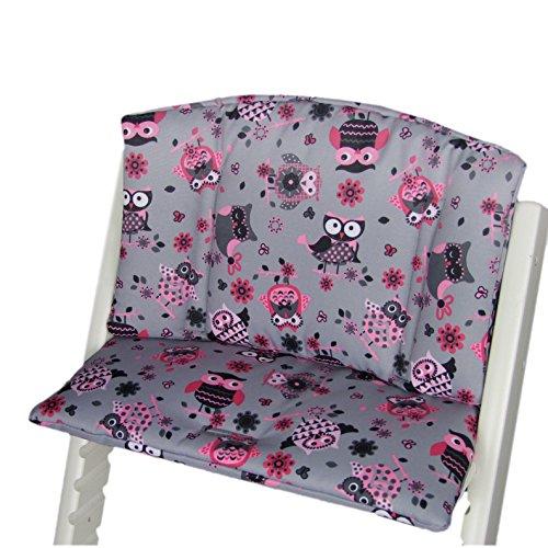 Babys-Dreams Sitzkissen Auflage Sitzkissenset für Stokke Tripp Trapp Hochstuhl (Grau Pink/Rosa Eulen$12) XX