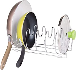 comprar comparacion mDesign Organizador de sartenes y tapaderas – Soporte de metal cromado con 6 compartimentos para sartenes y tapas de ollas...