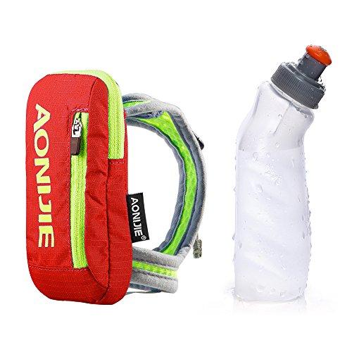 AONIJIE Nylon Marathon à Main levée d'hydratation Sac Running Bouilloire Sac à Main avec 1 pcs 250 ML Bouteille d'eau(Orange)