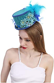 Xiang Ye Kentucky Derby Mini Top Hat, Royal Blue Butterfly Hat Horse Race hat, Butterfly Hat, blue Tea Party hat