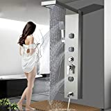 ALENARTWATER Shower Panel Massage Jets Rainfall Waterfall Shower Head, 48' Shower Stainless Steel Wall Mount Massage Multi-Function Bathroom Shower Panel Tower System, Brushed Nickel