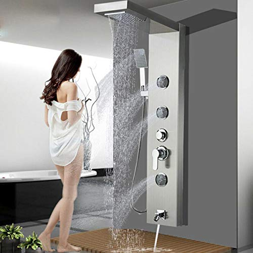 """ALENARTWATER Shower Panel Massage Jets Rainfall Waterfall Shower Head, 48"""" Shower Stainless Steel Wall Mount Massage Multi-Function Bathroom Shower Panel Tower System, Brushed Nickel"""