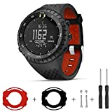 Sibode Compatible with Suunto Core Watch Band, Rubber Replacement Watch Band, Soft Wrist Band Strap with Metal Clasp for Suunto Core Smart Watch (Black & Red)