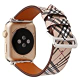 HotGlows 42mm 44mm Tartan Plaid Style Replacement Strap Wrist Band with Silver Metal Adapter Compatible with Apple Watch Series 4 3 2 1