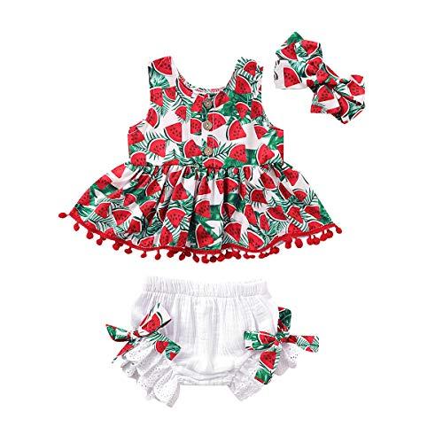 Toddler Baby Kids Girl Summer Outfits Flower Ruffle Top Shirt + Denim Bloomers +Headband Clothes Set (Watermelon, 6-12 Months)