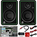 Mackie CR3-X 3-Inch Creative Reference Multimedia Monitors Bundle with Pro Tools First DAW Music Editing Software, Wireless Bluetooth Receiver and Dual 1/4' Stereo to 3.5mm Cable