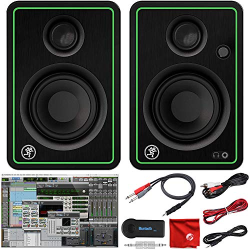 """Mackie CR3-X 3-Inch Creative Reference Multimedia Monitors Bundle with Pro Tools First DAW Music Editing Software, Wireless Bluetooth Receiver and Dual 1/4"""" Stereo to 3.5mm Cable"""