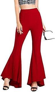 6da0612106a41 Mxssi Femme Bootcut Pantalon Taille Haute Pantalon évasé - Femmes Pantalons  décontracté élastique Solide Long Moderne