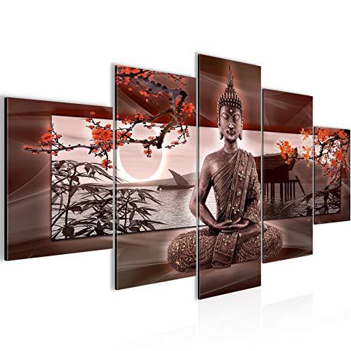 Budda Feng Shui Murali Tela Non Tessuta 5 Pezzi Sakura Rosso Camera Da Letto Corridoio 503253a