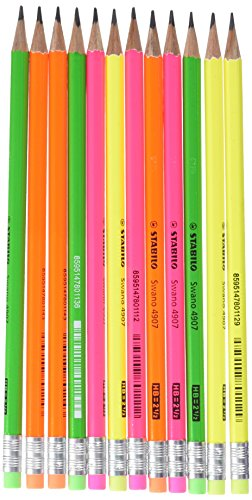 Matita in Grafite - STABILO swano fluo - con gommino - Eco Pack da 12 - Grad HB - Giallo/Verde/Arancione/Rosa