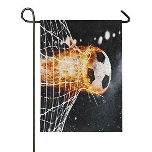 ALARGE Gartenflagge brennender Fußball-Fußball, doppelseitig, vertikale Fahnen für Party, Urlaub, Hof, Hof, Heimdekoration, 30,5 x 45,7 cm, Multi, 12x18 inches