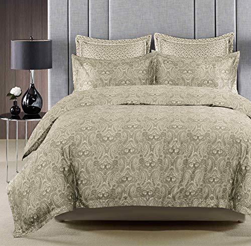 Nimsay Home Okko Luxury Paisley Soft Touch 100% Egyptian Cotton Sateen Duvet Cover Bedding Set (Double, Beige)