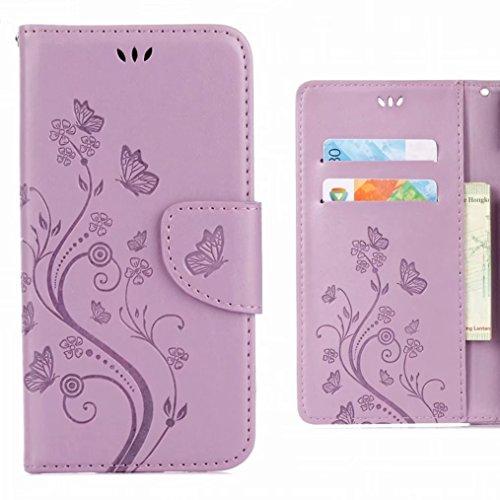 Ougger Hülle für ASUS Zenfone 4 Max ZC520KL Handyhüllen, Tasche Leder Schutzhülle Schale Weich TPU Silikon Magnetisch-Stehen Cover Tasche ZC520KL mit Kartensteckplätzen, Blumenstreifen (Lila)