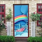 Etiqueta engomada moderna de la puerta del arte 3d, viaje de luna de miel en el día de San Valentín Vea la etiqueta desprendible de la puerta del vinilo de la cáscara y del palillo para la decoración
