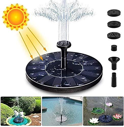 JF Solarenergie Springbrunnen Pumpe, 2,1 W, Solar-betriebene Wasserpumpe mit 4 Düsen für Bird Bath, Aquarium, Teich oder Gartendekoration