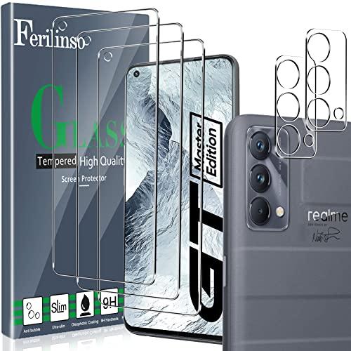 Ferilinso Vetro Temperato Disegnato per Realme GT Master Edition 5G, 3 Pezzi Pellicola Protettiva con 2 Pezzi Pellicola Fotocamera, Pellicola vetro protettivo, Cover Amichevole, Durezza 9H