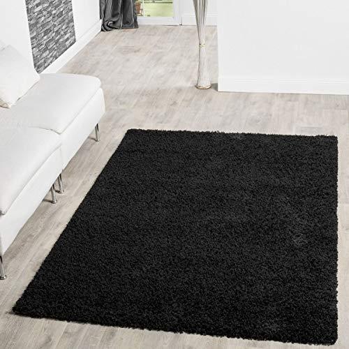 T&T Design Alfombra Shaggy Pelo Largo Moderna Monocolor En Negro Precio Inmejorable, Größe:160x220 cm