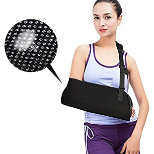 Arm Sling for Shoulder Injury, Adjustable Sling Will Immobilize the Injured Arm, Mesh Breathable Lightweight Forearm Elbow Sling Brace Sprain Support for Broken & Fractured Arm - Women - Men (Black)