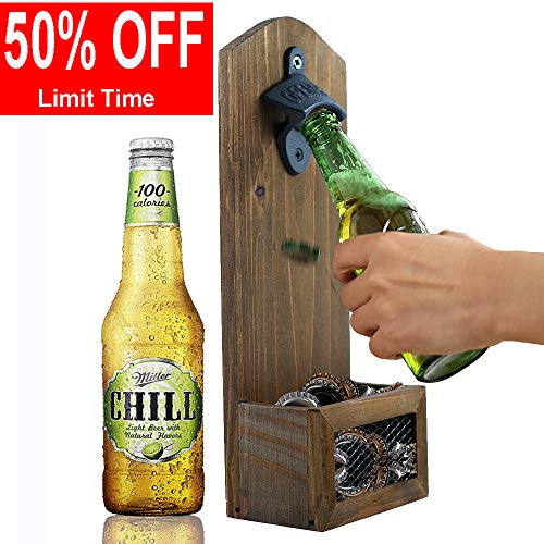AHDECOR Vintage Wall Mounted Wooden Bottle Openers with Cap Catcher, for Men and Beer Lovers, 12 x 7 x 30cm