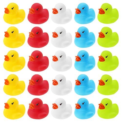 WELLGRO 25 Badeenten - bunt (gelb, rot, weiß, blau, grün), je Ente ca. 3,5 x 3 cm (ØxH), Gummiente, im Netz